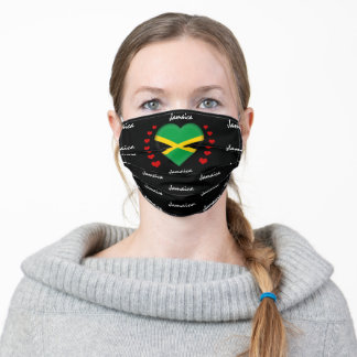 Jamaica Flag & Heart, Jamaican Flag fashion/sports Adult Cloth Face Mask