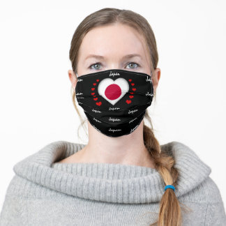 Japan Flag & Heart, Japanese Flag fashion/sports Adult Cloth Face Mask