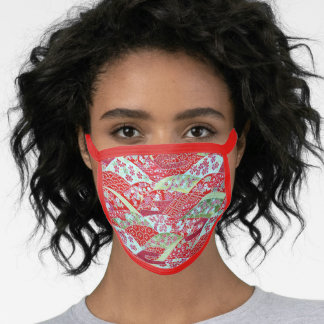 Japanese Art Red Floral Origami Yuzen Face Mask