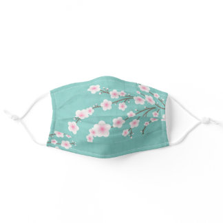 Japanese Floral Pink And Turquoise Adult Cloth Face Mask