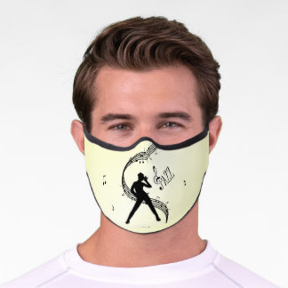 Jazz Dance Yellow Music  Premium Face Mask