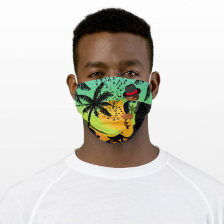 Jazz Player Sax Palm Trees Music Adult Cloth Face Mask