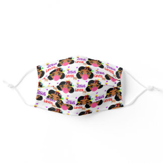Jesus Love Me Afro Puffs Girl Blowing Bubble Adult Cloth Face Mask