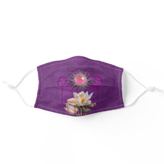 Jeweled Sun Lotus Delight Violet Adult Cloth Face Mask