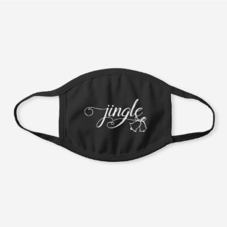 Jingle Holiday Bells Black Cotton Face Mask