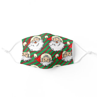 Jolly Santa Claus Christmas Green Red Stripe Adult Cloth Face Mask