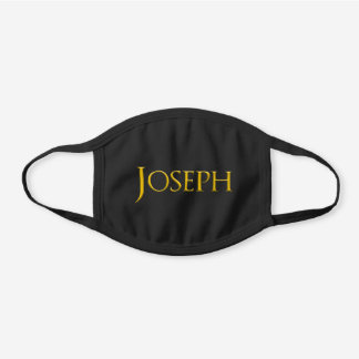Joseph Man's Name Black Cotton Face Mask