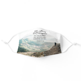 Joshua 1:9 Be Strong and Courageous Bible Verse Adult Cloth Face Mask