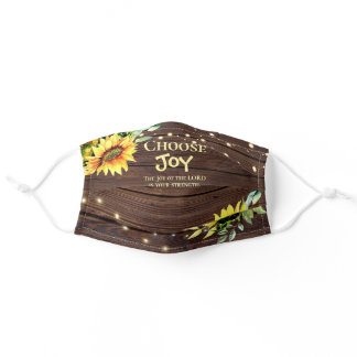 Joy of the Lord is Your Strength Sunflowers Adult Cloth Face Mask