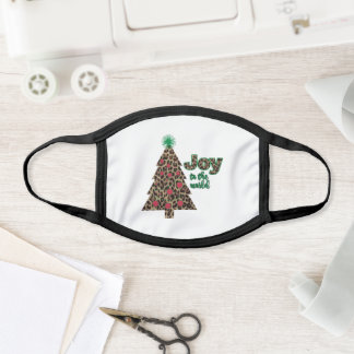 Joy to the world leopard print Christmas tree Face Mask