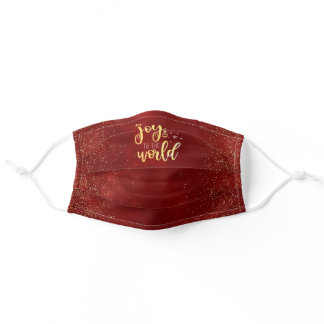 """Joy to the World"" Red & Gold Christmas Adult Cloth Face Mask"