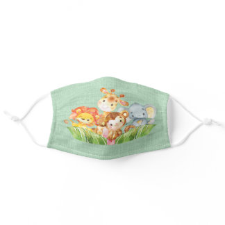 Jungle Baby Animals Baby Shower Adult Cloth Face Mask