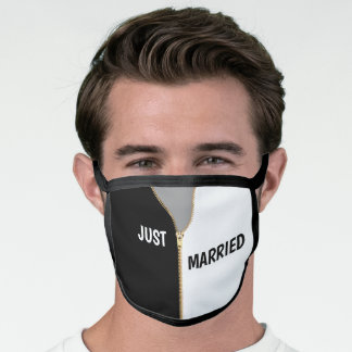 Just Married Black and White, Gold Zipper Face Mask