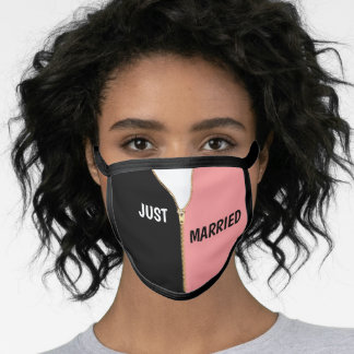 Just Married Gold Zipper Peach and Black Face Mask