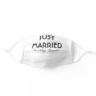 Just Married Personalized Mr and Mrs Adult Cloth Face Mask