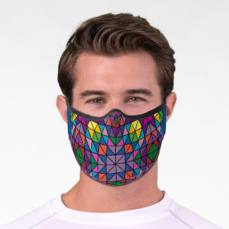 Kaleidoscope Stained Glass Look Pattern Adult Clot Premium Face Mask
