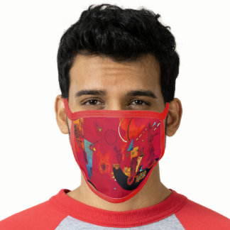 Kandinsky Modern Red Abstract Artwork Face Mask