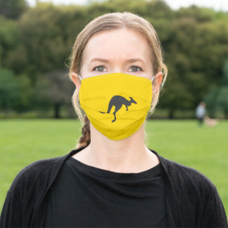kangaroo silhouette adult cloth face mask