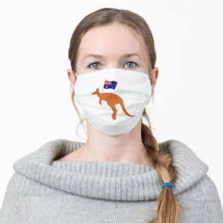 kangaroo with australian flag white adult cloth face mask