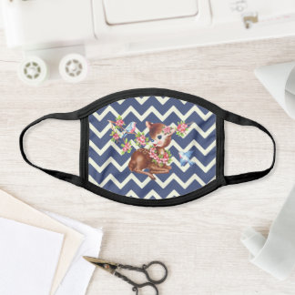 Kawaii cute fawn deer blue chevron pattern face mask