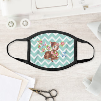 Kawaii,cute fawn deer on a green chevron pattern face mask