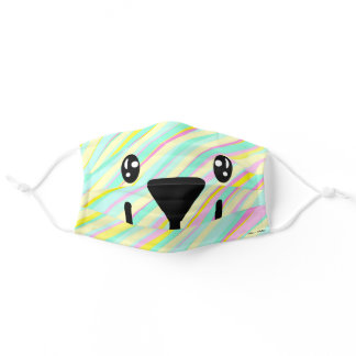 Kawaii Pastel Stripes Bear Adult Cloth Face Mask