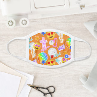 kawaii stickers look volleyball court happy place face mask