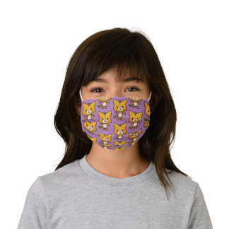 Kawaii Tiger Pattern Purple Kids' Cloth Face Mask