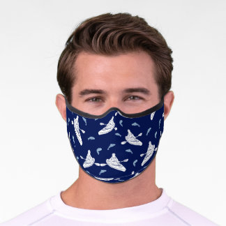 Kayaks and Fish Navy Blue and White Patterned Premium Face Mask