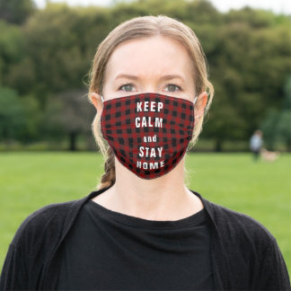 keep calm and stay home red checked adult cloth face mask