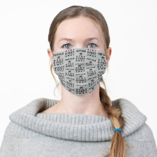 KEEP CALM and STAY SIX FEET AWAY Editable Gray Adult Cloth Face Mask