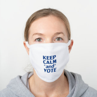"""keep calm and vote"" blue - black, white - white cotton face mask"