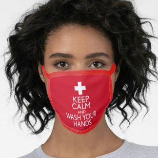 Keep Calm and Wash Your Hands - red white Face Mask
