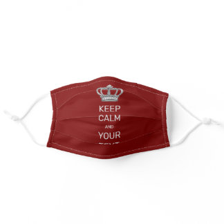 Keep Calm and Your Text Royal Crown Red Adult Cloth Face Mask