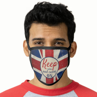 Keep Calm Carry On British Flag Any Quote Face Mask
