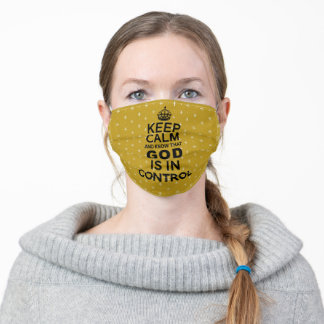 Keep Calm God is in Control - mustard yellow black Adult Cloth Face Mask