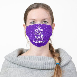 Keep Calm God is in Control - purple white Adult Cloth Face Mask