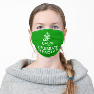 Keep calm green St Patrick's Day party Adult Cloth Face Mask