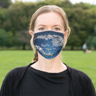 Keep On Keepin' On, Denim & Lace Adult Cloth Face Mask