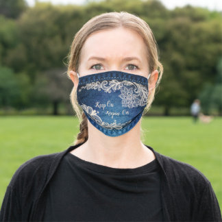Keep On Keepin' On, Denim & Lace Cloth Face Mask