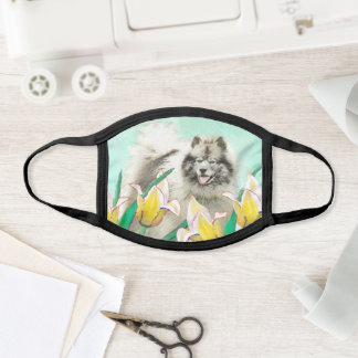 Keeshond in Tulips Painting Cute Original Dog Art Face Mask