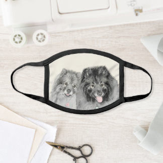 Keeshond Mom and Son Painting - Original Dog Art Face Mask