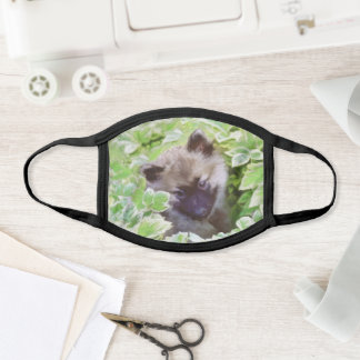 Keeshond Puppy in the Garden Painting Original Art Face Mask