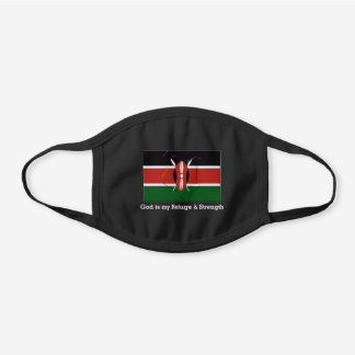 KENYA FLAG MAP Customizable GOD IS MY REFUGE Black Cotton Face Mask