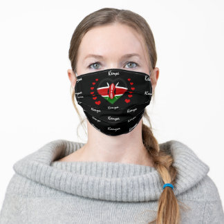 Kenyan flag & Heart, Kenya Flag fashion /sports Adult Cloth Face Mask