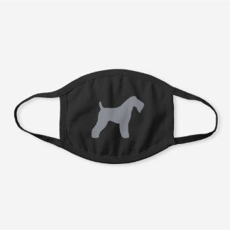 Kerry Blue Terrier Dog Breed Silhouette Black Cotton Face Mask