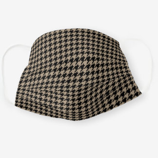 Khaki And Black Houndstooth Men's Cloth Face Mask
