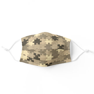 Khaki Camouflage Puzzle Pieces Pattern Funny Adult Cloth Face Mask