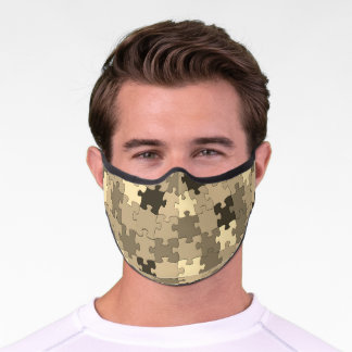 Khaki Camouflage Puzzle Pieces Pattern Funny Premium Face Mask