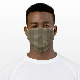 Khaki Green Brown Plaid Pattern Adult Cloth Face Mask